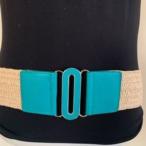 Turquoise Leather Stretch belt